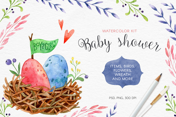 Baby Shower. Watercolor kit. - Illustrations