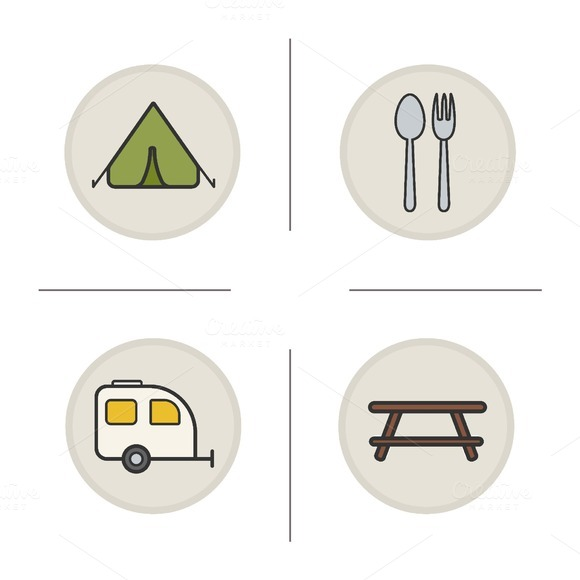 Camping icons . Vector - Icons