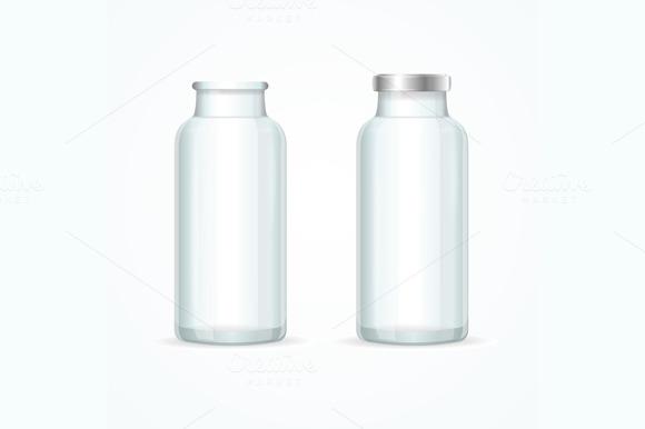 Glass Milk Bottle Set. Vector - Objects