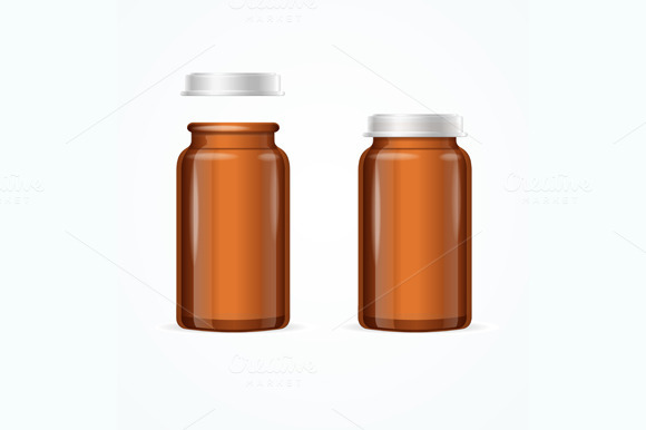 Medical Glass Brown Bottle. Vector - Objects