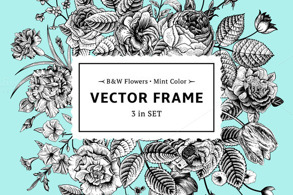 Vector floral frame. B&W, mint color - Illustrations