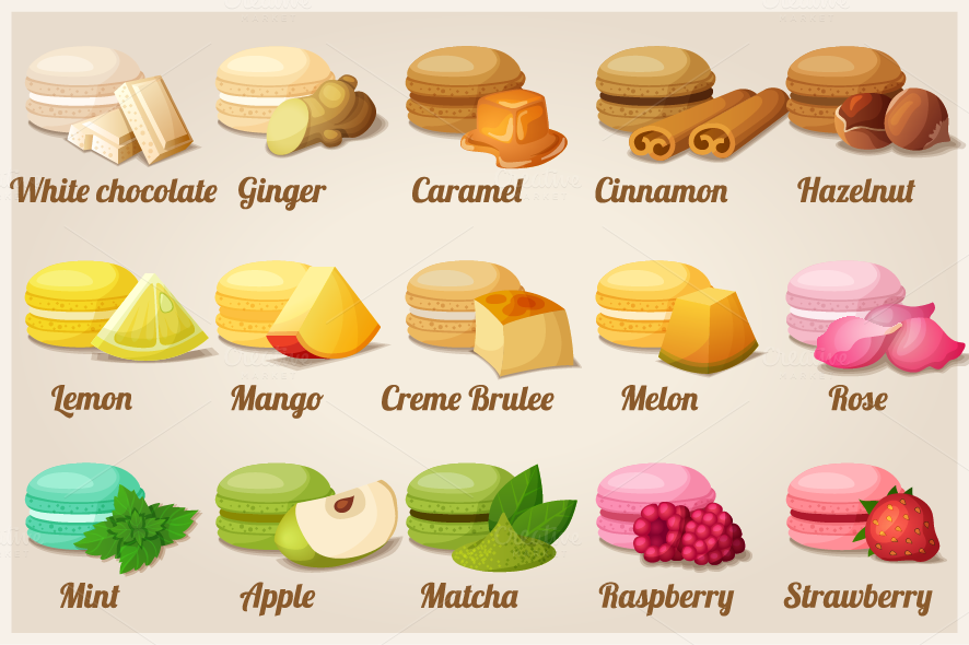Macaroons With Different Flavors Icons On Creative Market