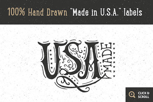 """12 Hand Drawn """"Made in USA"""" labels"""