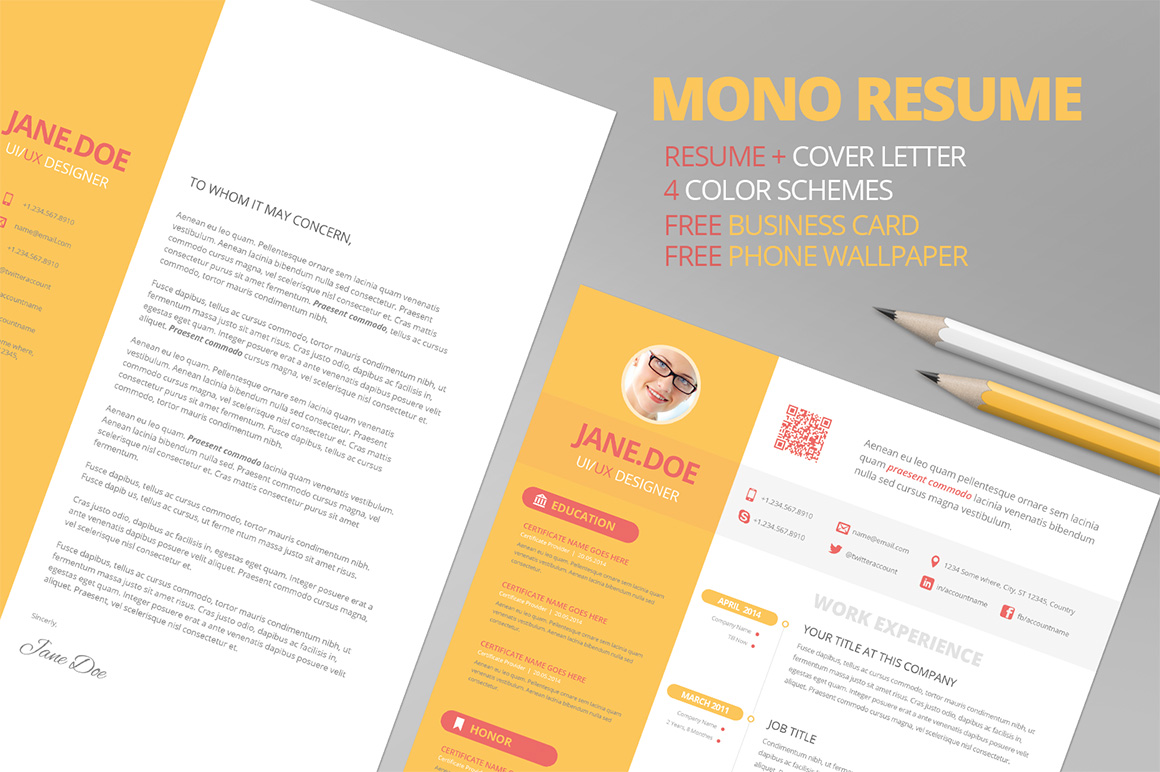 mono resume cv   free business card
