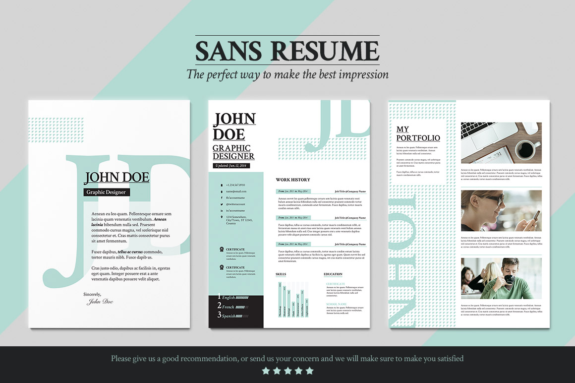 Sans Resume Cover Letter Portfolio Resume Templates On
