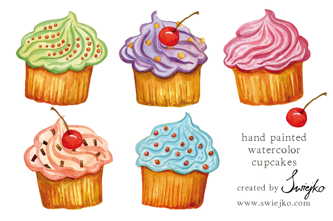 Watercolor Cupcakes Illustrations On Creative Market
