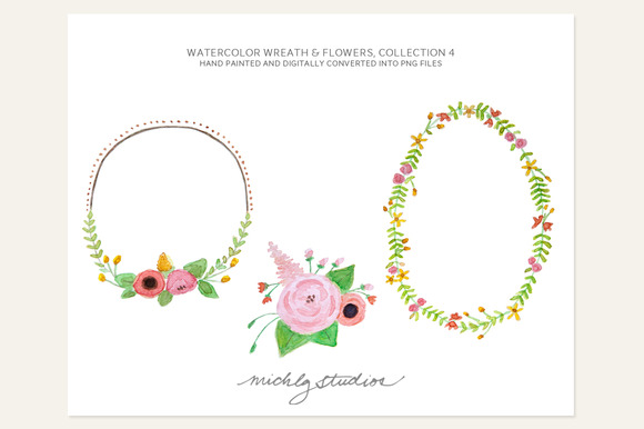 3 PNG Floral Wreaths Flowers
