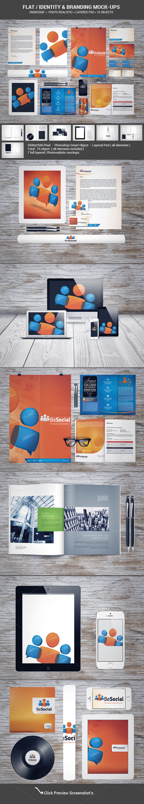 Flat identity & Branding mock-ups - Product Mockups - 1