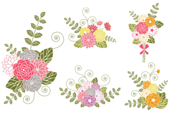 Flower Bouquets Clip Art Illustrations On Creative Market