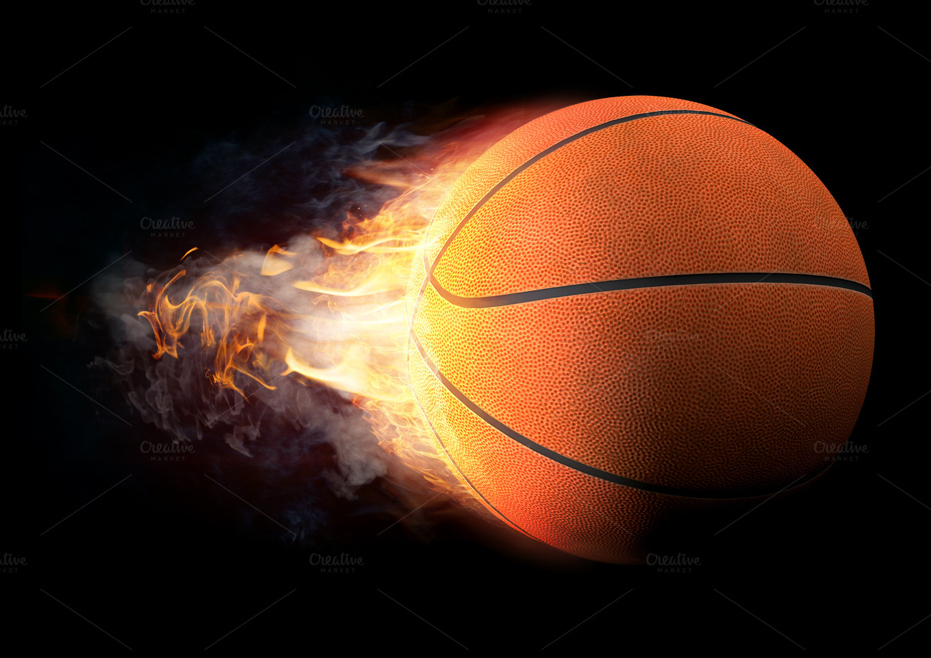 how to draw a basketball on fire