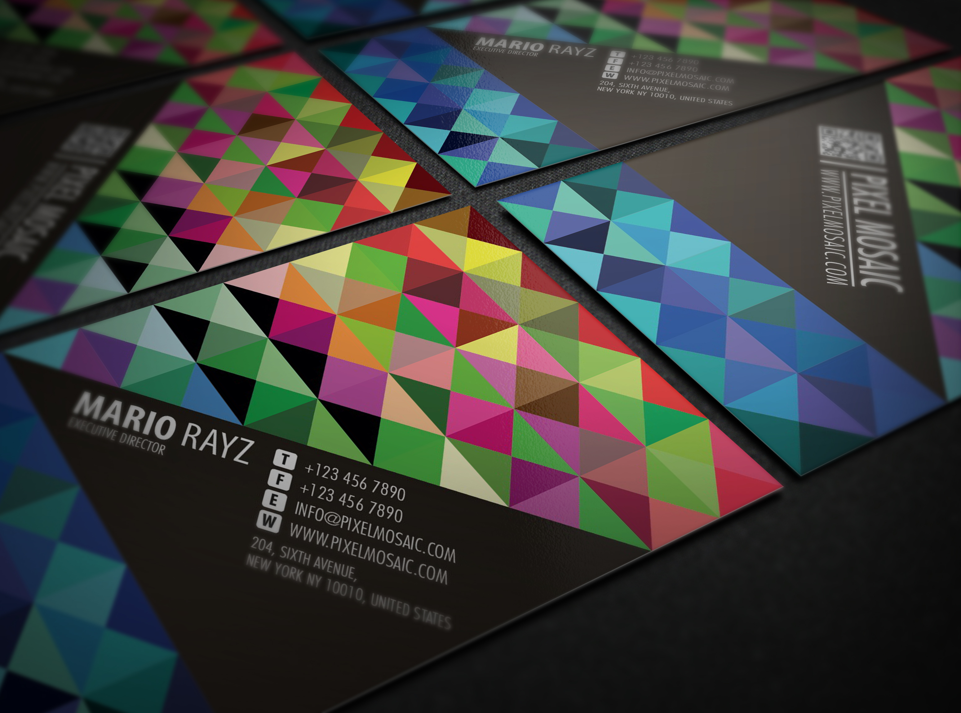 Pixel mosaic business card business card templates on for Business card pixels