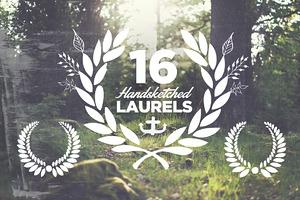 16 Handsketched Vector Laurels
