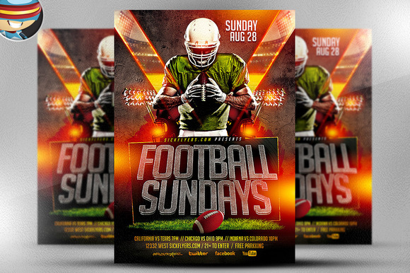 football sundays flyer template flyer templates on creative market. Black Bedroom Furniture Sets. Home Design Ideas