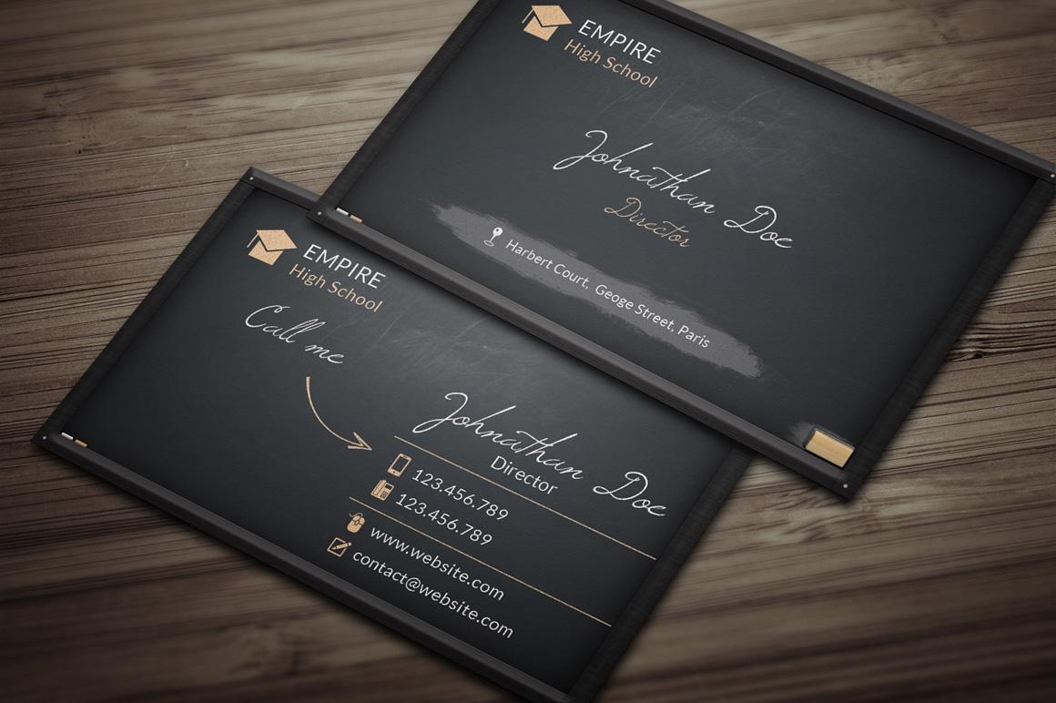 blackboard business card  business card templates on