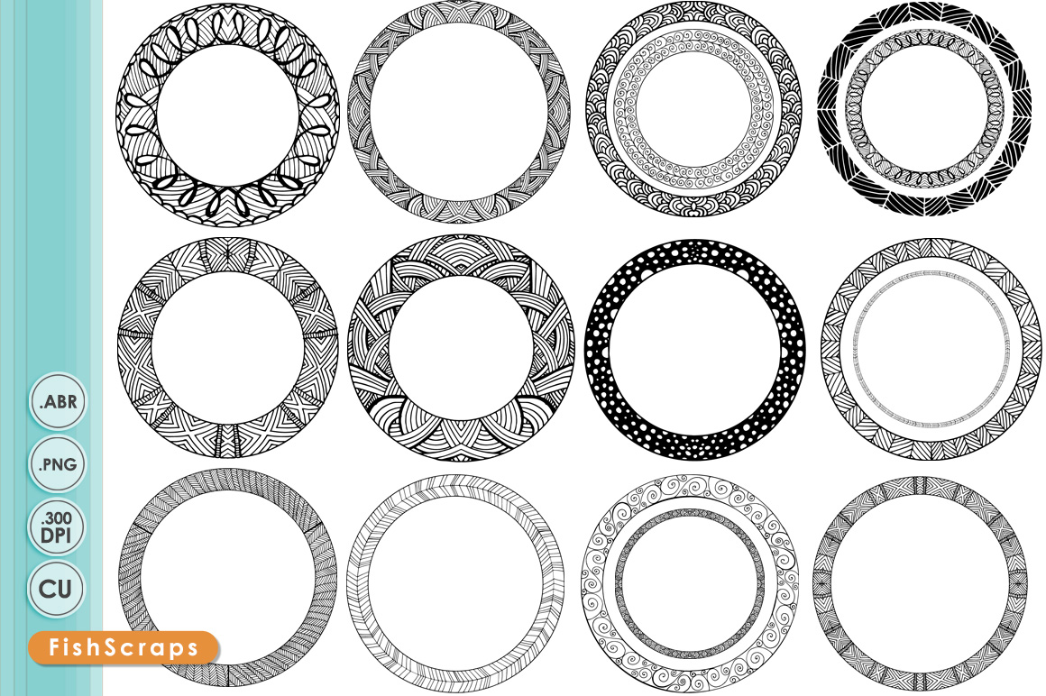 circle frames round label borders brushes on creative market. Black Bedroom Furniture Sets. Home Design Ideas