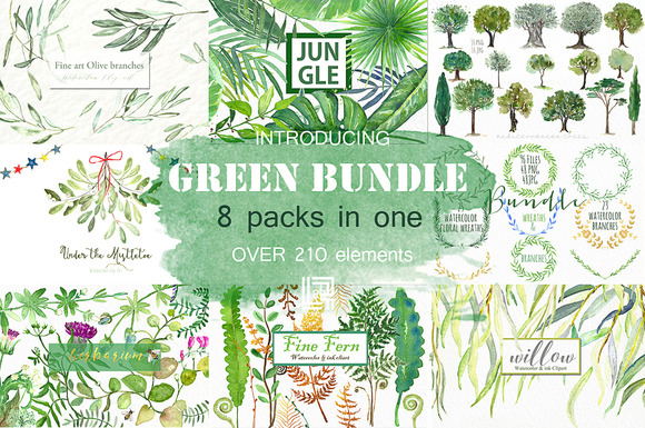 Green Bundle. Watercolor clipart. - Illustrations
