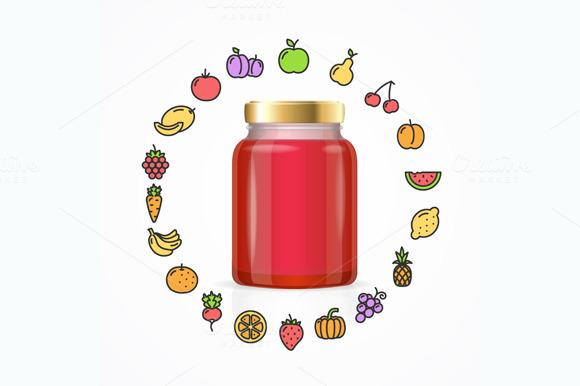 Jar Glass with Jam. Vector - Illustrations