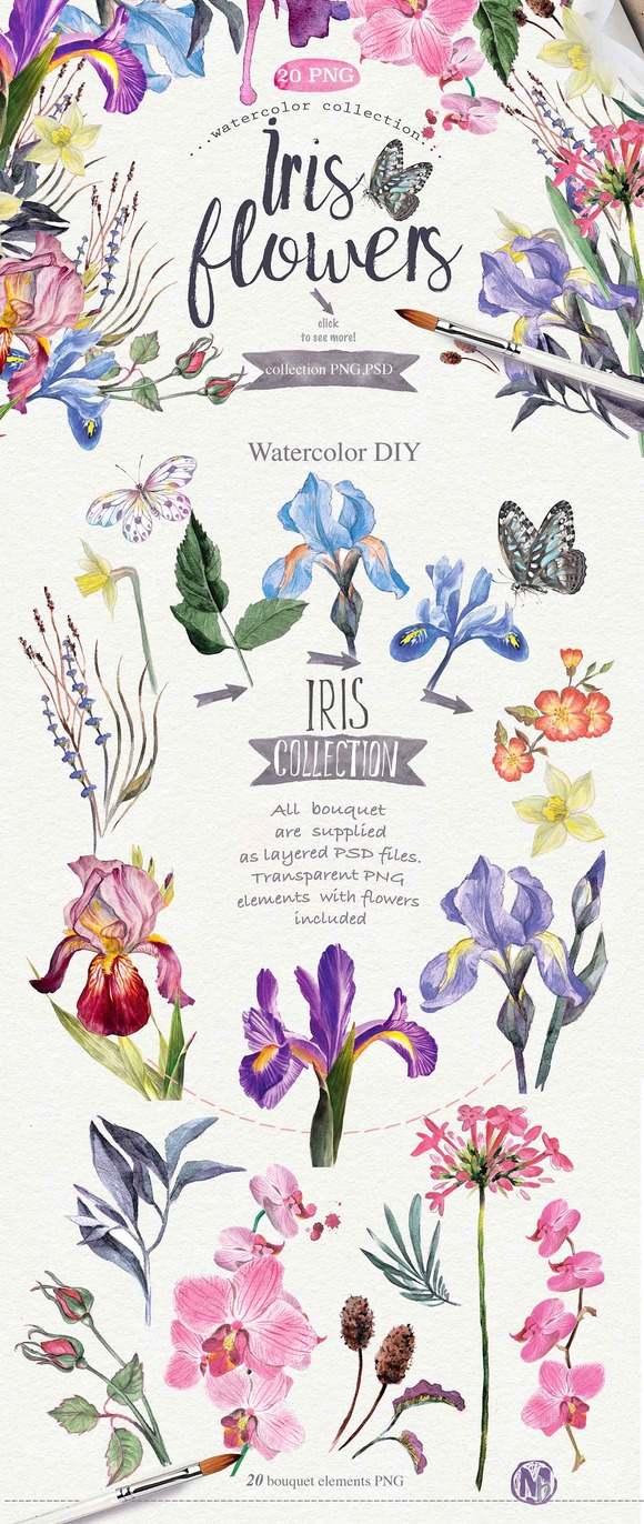 "Watercolor DIY ""IRIS"" vol.1 - Illustrations"