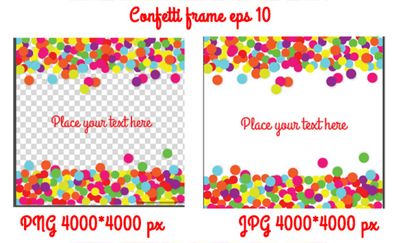 Confetti frame background. Vector - Graphics