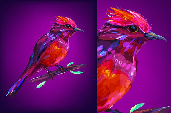 Red bird (Birds set. Vector) - Illustrations