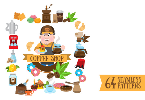 Coffee. Icons and seamless patterns. - Patterns