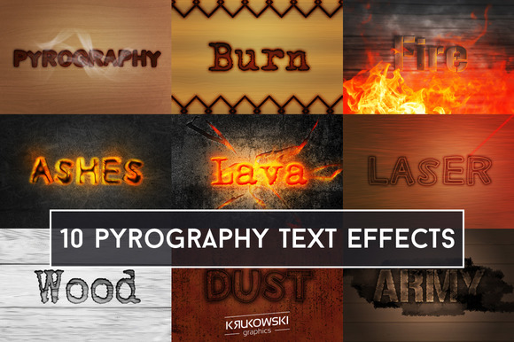 Pyrography Text Effect