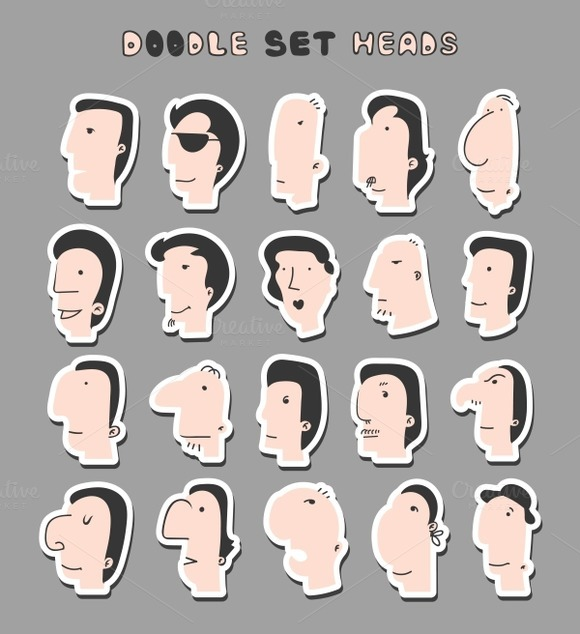 Set face men. Men face. Boy face. - Objects