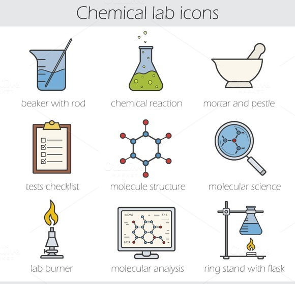 Chemical lab icons. Vector - Icons