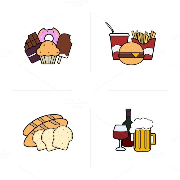 Food categories icons. Vector - Icons