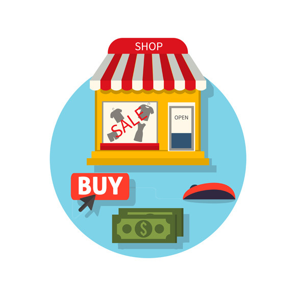 Online Shop Icon Flat. Sale and Buy  - Illustrations