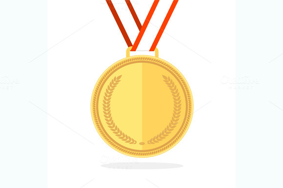Golden Medal Flat Style. Vector - Objects