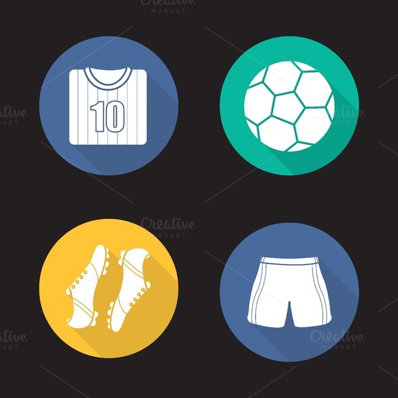 Soccer accessories icons. Vector - Icons