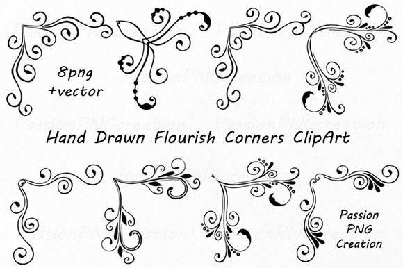Hand Drawn Flourish Corners Clipart