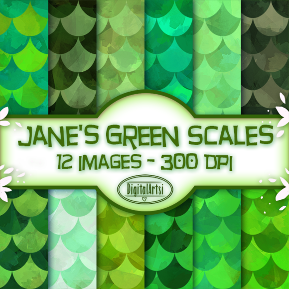 Green Scales Seamless Patterns