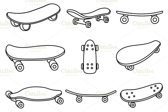 Set Of Black And White Skateboards