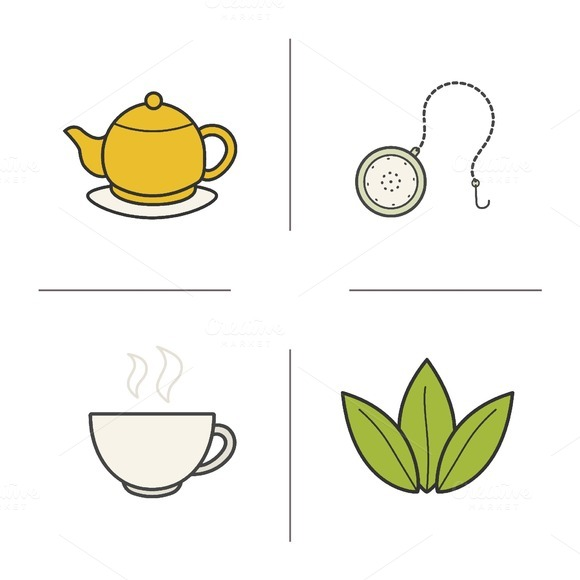 Tea color icons. Vector - Icons