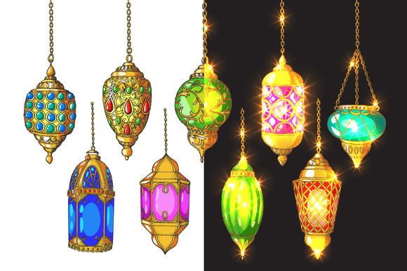 Colorful arabic lanterns. Ramadan. - Illustrations
