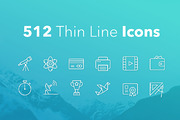 512 Thin Line Icons-Graphicriver中文最全的素材分享平台