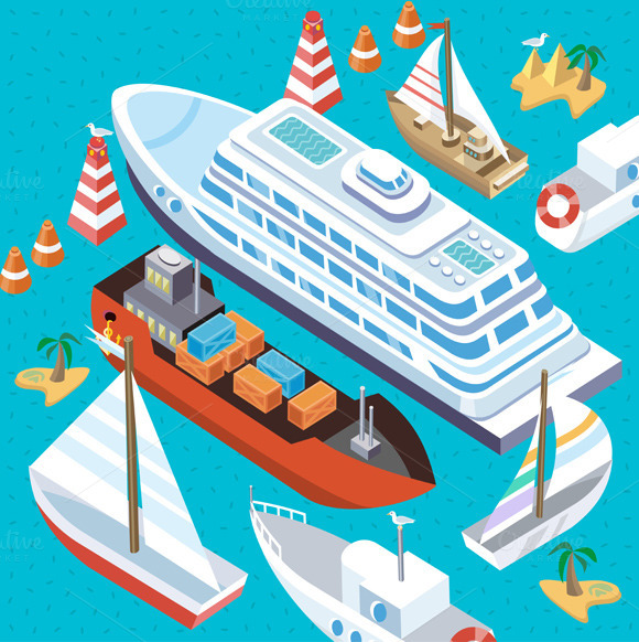 Isometric Set Ships. Sea Transport - Illustrations