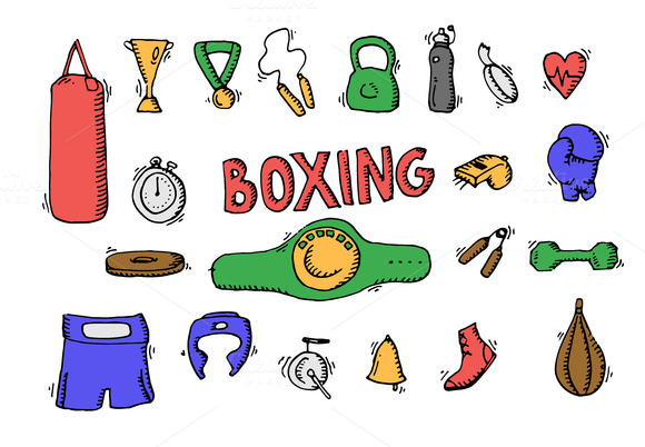 Boxing doodle icon set. Vector - Icons