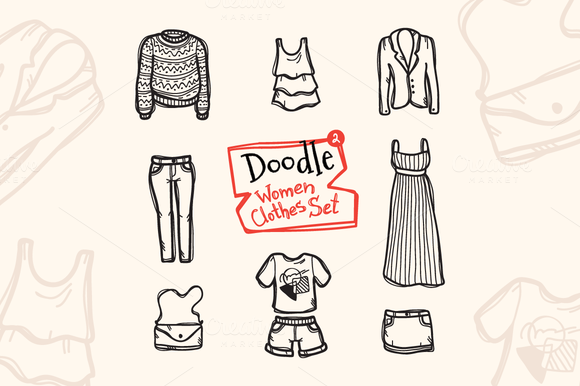 8 Doodle Icons. Women Clothes #2 - Icons
