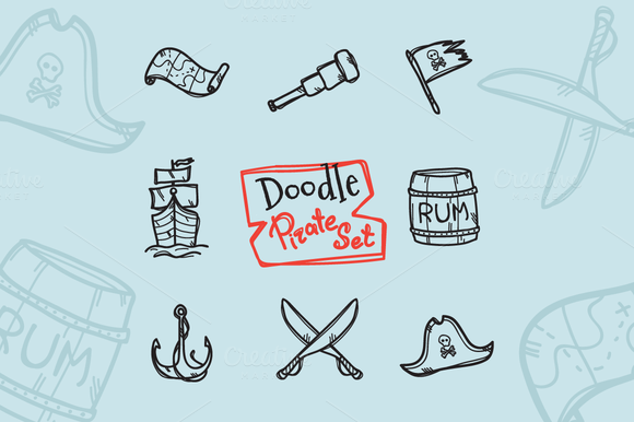 8 Doodle Icons. Pirate Set - Icons