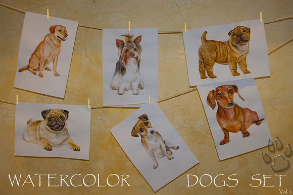 Watercolor Animals Set - DOGS Vol. 1 - Illustrations