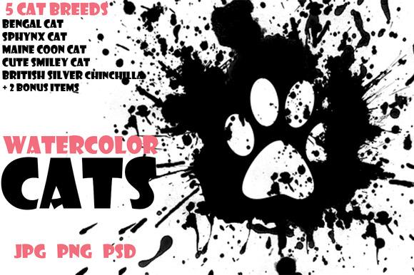 Watercolor Animals Set CATS Vol 1