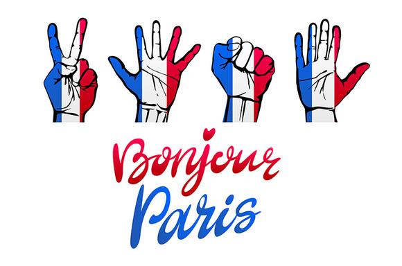 Bonjour Paris Card Signs Hands