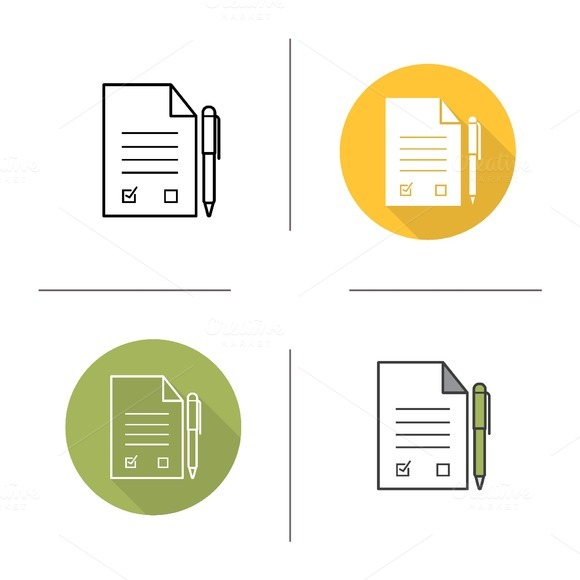 Signed contract icons. Vector - Icons