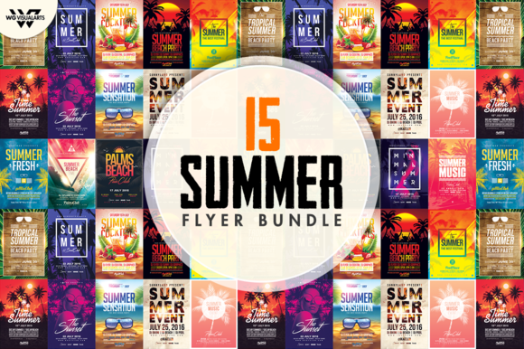 15 SUMMER BEACH Flyer Bundle - Flyers