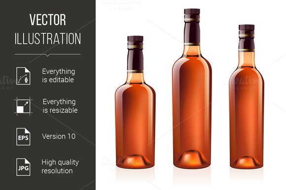Bottles of cognac (brandy). Vector i - Graphics
