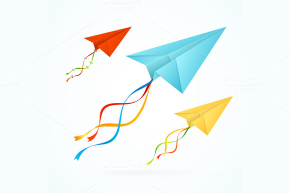 Paper Airplain Colorful Set. Vector - Illustrations
