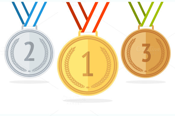 Medal Set. Flat Style. Vector - Objects
